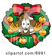 Wooden Cross Mascot Cartoon Character In The Center Of A Christmas Wreath