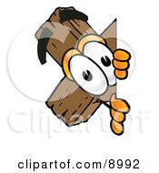 Clipart Picture Of A Wooden Cross Mascot Cartoon Character Peeking Around A Corner