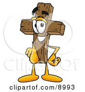 Clipart Picture Of A Wooden Cross Mascot Cartoon Character Pointing At The Viewer