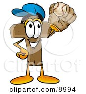 Clipart Picture Of A Wooden Cross Mascot Cartoon Character Catching A Baseball With A Glove