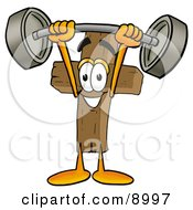 Clipart Picture Of A Wooden Cross Mascot Cartoon Character Holding A Heavy Barbell Above His Head by Toons4Biz