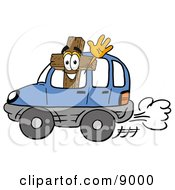 Clipart Picture Of A Wooden Cross Mascot Cartoon Character Driving A Blue Car And Waving by Toons4Biz