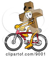 Wooden Cross Mascot Cartoon Character Riding A Bicycle