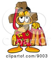 Wooden Cross Mascot Cartoon Character In Orange And Red Snorkel Gear