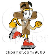 Clipart Picture Of A Wooden Cross Mascot Cartoon Character Roller Blading On Inline Skates by Toons4Biz