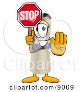 Clipart Picture Of A Diploma Mascot Cartoon Character Holding A Stop Sign by Toons4Biz