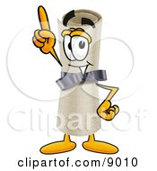 Diploma Mascot Cartoon Character Pointing Upwards