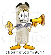 Clipart Picture Of A Diploma Mascot Cartoon Character Screaming Into A Megaphone by Toons4Biz