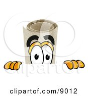 Clipart Picture Of A Diploma Mascot Cartoon Character Peeking Over A Surface