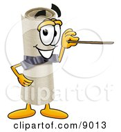 Clipart Picture Of A Diploma Mascot Cartoon Character Holding A Pointer Stick