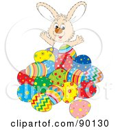 Royalty Free RF Clipart Illustration Of A Friendly Beige Easter Bunny Behind A Pile Of Eggs