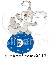 Royalty Free RF Clipart Illustration Of A Gray Easter Bunny Sitting On A Celestial Egg