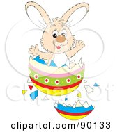 Royalty Free RF Clipart Illustration Of A Beige Easter Bunny Bursting From An Egg