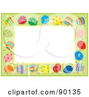 Royalty Free RF Clipart Illustration Of A Border Of Colorful Easter Eggs On Green Around White Space