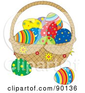 Royalty Free RF Clipart Illustration Of An Easter Basket With Patterned Eggs
