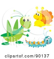 Royalty Free RF Clipart Illustration Of A Digital Collage Of A Cricket Snail And Caterpillar by Alex Bannykh