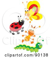 Royalty Free RF Clipart Illustration Of A Digital Collage Of A Butterfly Ladybug Ant And Caterpillar by Alex Bannykh