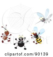 Royalty Free RF Clipart Illustration Of A Digital Collage Of A Mosquito Bee Spider And Ant By A Spider Web