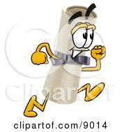 Clipart Picture Of A Diploma Mascot Cartoon Character Running