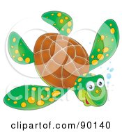 Swimming Wild Green Sea Turtle With Yellow Spots And Bubbles