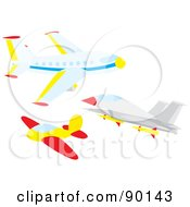 Royalty Free RF Clipart Illustration Of A Digital Collage Of An Airliner Plane And Jet by Alex Bannykh