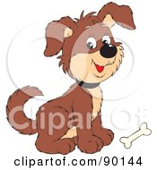 Royalty Free RF Clipart Illustration Of A Cute Puppy Dog With A Bone At His Feet