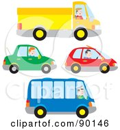 Royalty Free RF Clipart Illustration Of A Digital Collage Of Truck Car And Bus Drivers by Alex Bannykh