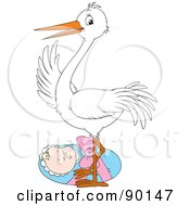 Royalty Free RF Clipart Illustration Of A White Stork Standing Over A Bundled Baby by Alex Bannykh