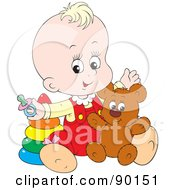 Royalty Free RF Clipart Illustration Of A Blond Baby Playing With A Teddy Bear And Rings by Alex Bannykh
