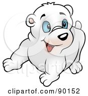 Royalty Free RF Clipart Illustration Of A Polar Bea Cub With Blue Eyes Looking Right by dero