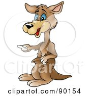 Royalty Free RF Clipart Illustration Of A Pointing Kangaroo by dero