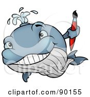 Royalty Free RF Clipart Illustration Of A Creative Whale Holding A Paint Brush by dero