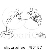 Royalty Free RF Clipart Illustration Of An Outlined Hungry Dog Diving Towards His Food Bowl