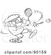 Outlined Toon Guy Playing Tennis