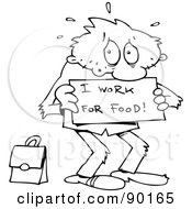 Royalty Free RF Clipart Illustration Of An Outlined Toon Guy Willing To Work For Food