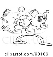 Royalty Free RF Clipart Illustration Of An Outlined Toon Guy Struggling To Juggle His Duties