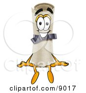 Clipart Picture Of A Diploma Mascot Cartoon Character Sitting