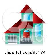 Royalty Free RF Clipart Illustration Of A 3d Green And Red Home Page App Button by MilsiArt