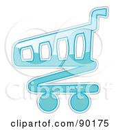 Royalty Free RF Clipart Illustration Of A Shiny Blue Shopping Cart App Icon by MilsiArt