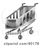 Royalty Free RF Clipart Illustration Of A 3d Chrome Shopping Cart App Icon