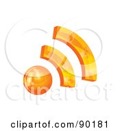 Royalty Free RF Clipart Illustration Of A 3d Orange RSS App Icon by MilsiArt