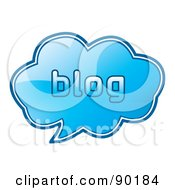 Royalty Free RF Clipart Illustration Of A Shiny Blue 3d Blog App Icon