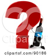 Royalty Free RF Clipart Illustration Of A 3d Wine Bottle Character With A Question Mark 2