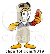 Clipart Picture Of A Diploma Mascot Cartoon Character Holding A Telephone