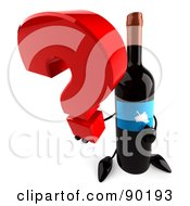 Royalty Free RF Clipart Illustration Of A 3d Wine Bottle Character With A Question Mark 1