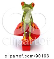Royalty Free RF Clipart Illustration Of A 3d Springer Frog Sitting On Top Of A Question Mark 2