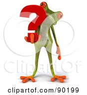 Royalty Free RF Clipart Illustration Of A 3d Springer Frog Holding A Question Mark 2