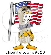 Clipart Picture Of A Diploma Mascot Cartoon Character Pledging Allegiance To An American Flag by Toons4Biz