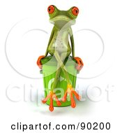 Royalty Free RF Clipart Illustration Of A 3d Springer Frog With A Recycle Bin Version 2