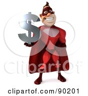 Royalty Free RF Clipart Illustration Of A 3d Red Super Hero Guy Holding A Dollar Symbol 1